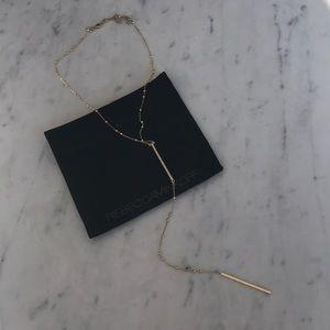 Lariat gold necklace